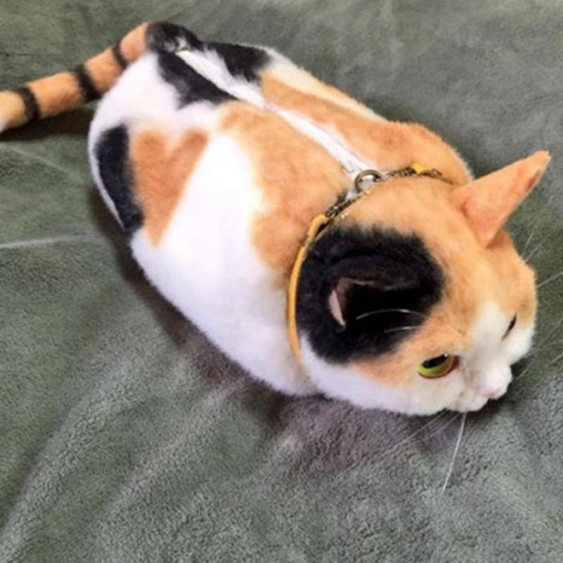 Carino Pico Gatto Nero Gatto Bianco A tre colori Gatto Zaino Zaini Peluche Divertente Kitty Cat Borse Personalità Borsa Bambini bambole Regali