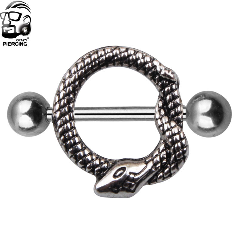 2 Piece 316L Stainless Steel Snake Shape Industry Tongue Barbell Piercing Jewelry Tongue Nipple Bar Ring Body Jewelry