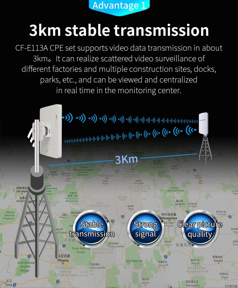 2 pcs 3 km Comfast CF-E113A Haute Puissance Extérieure Wifi Répéteur 5 ghz 300 Mbps Sans Fil Wifi Routeur AP Extender pont Nano station AP