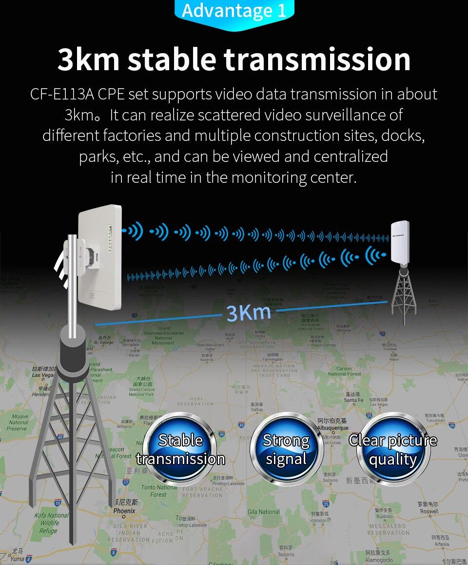 2 pièces 3 km Comfast CF-E113A répéteur Wifi extérieur haute puissance 5 GHz 300 Mbps sans fil Wifi routeur AP Extender pont Nano station AP