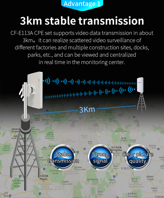 In Stock 2pcs 3km Comfast High Power Outdoor Wifi Repeater 5GHz 300Mbps Wireless Wifi Router AP Extender Bridge Nano station AP