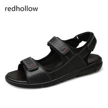 Men Casual Summer Sandals Mens Cow Leather Beach Hook & Loop Shoes Rome Flat For Man Plus Size