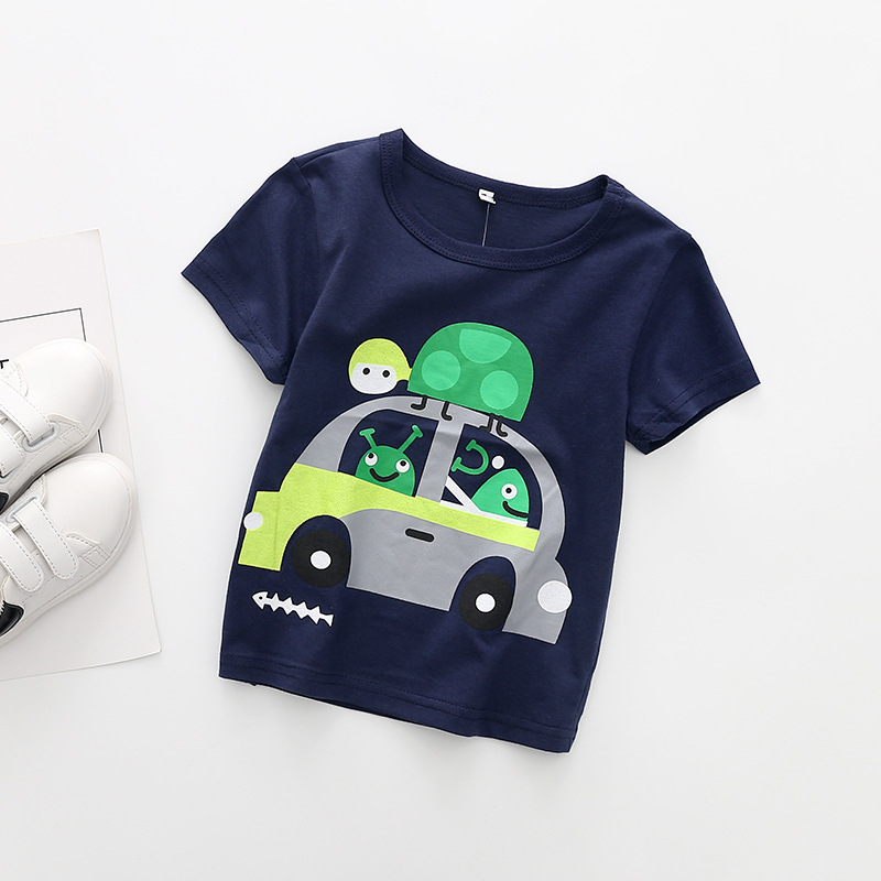Baby Boy Tops Boys Sweatshirt Short Sleeve Cartoon Car Tigers T-shirt Casual Streetwear Childrens Summer Clothes Kids T-shirt