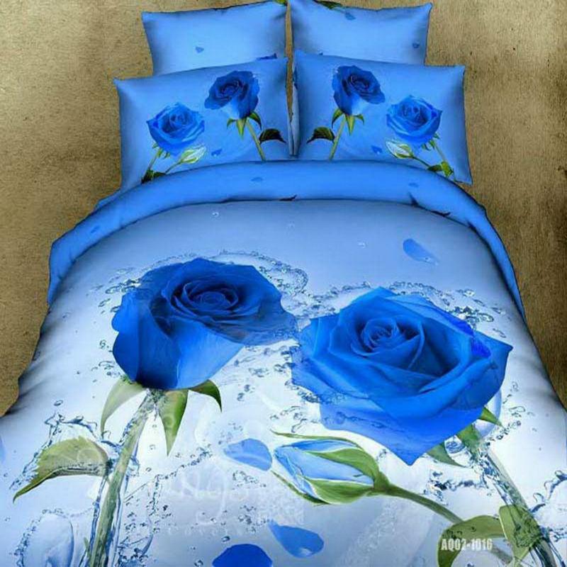 3D Blue Rose Bedding Set Cotton 800TC 100% Cotton Double Queen King Size3D Blue Rose Bedding Set Cotton 800TC 100% Cotton Double Queen King Size