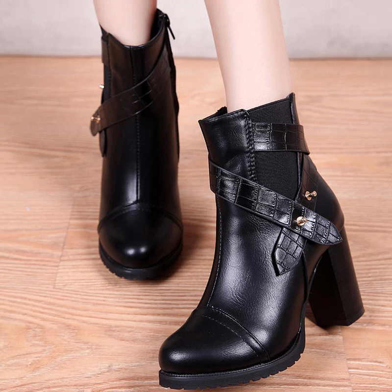 Winter autumn new women leather warm round-toe simple comfortable all-match solid female high heel shoes pumps short ankle boots hot sale autumn winter shoes round toe fashion ankle women boots sheepskin all match square high heel