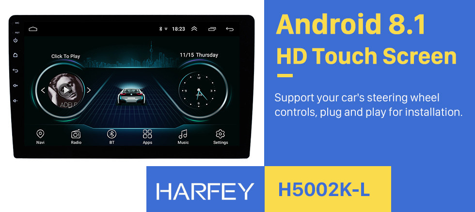 Harfey 2Din 9 inch Android 8.1 GPS Navi for Universal Car Multimedia Player HD 1024*600 Support Mirror Link SWC DVR Rear camera 1