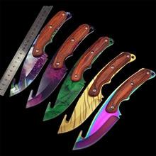 Нож для зубьев CS GO Gut, тактический прямой охотничий нож для кемпинга, цветной нож для выживания