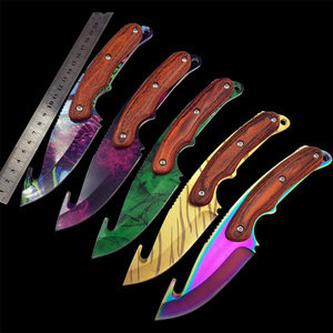 Image 1 - Real Tiger Tooth knife CS GO Gut Knifes Counter Strike Tactical Straight Hunting Knives Camping sheath survival colored knife