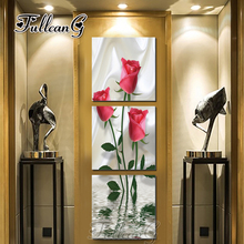 FULLCANG diy 3 pieces diamond painting red rose flowers triptych mosaic cross stitch 5d embroidery full square drill G1288