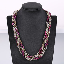 Noble Crystal Pearl Necklace  Nattural Pearls Necklacef Women Fashion Chains Popular Jewelry For