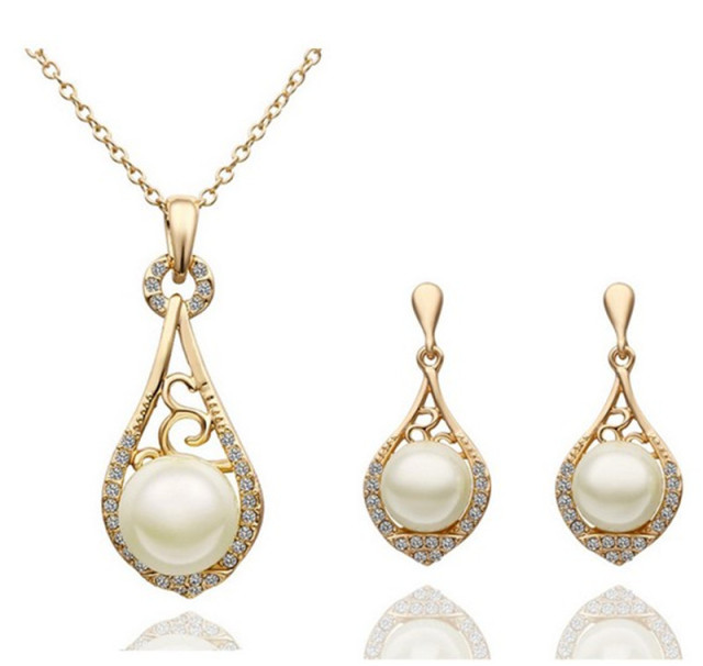 Free Shipping Pearl Jewelry Sets Women GoldRose GoldSivler Plated