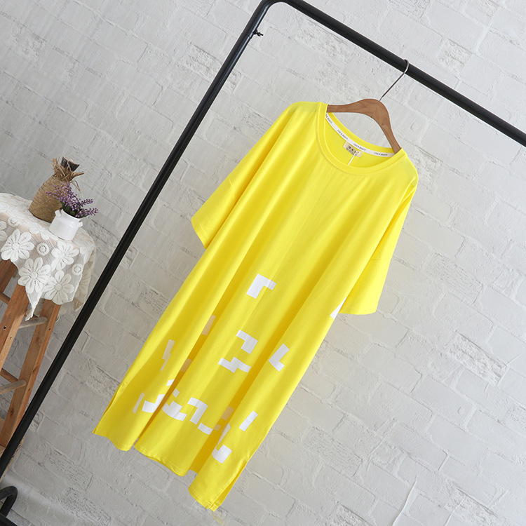 5 XL Plus Size Tops Tees Women Casual Short Sleeve Long Style T-shirt Black Yellow QYL207
