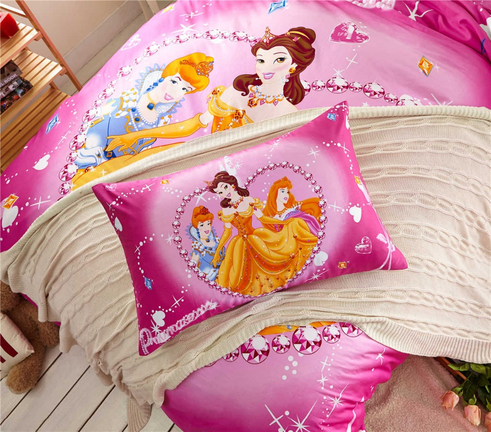 Diamond Princess Bedding Girls Comforters Cotton Fabric Bed Sheet Duvet  Cover Set Single Twin Queen Disney Character Dark Pink In Bedding Sets From  Home ...