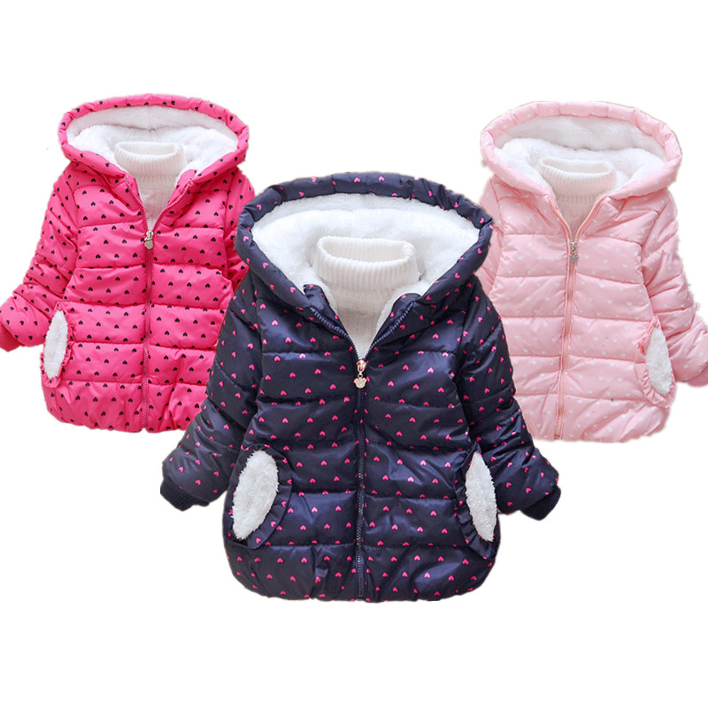 Girls Jacket Kids Toddler Winter Warm Coat For <font><b>Boys</b></font> Children Clothing Hooded Outerwear Baby Girls Clothing for 2 3 4 5 6 Years