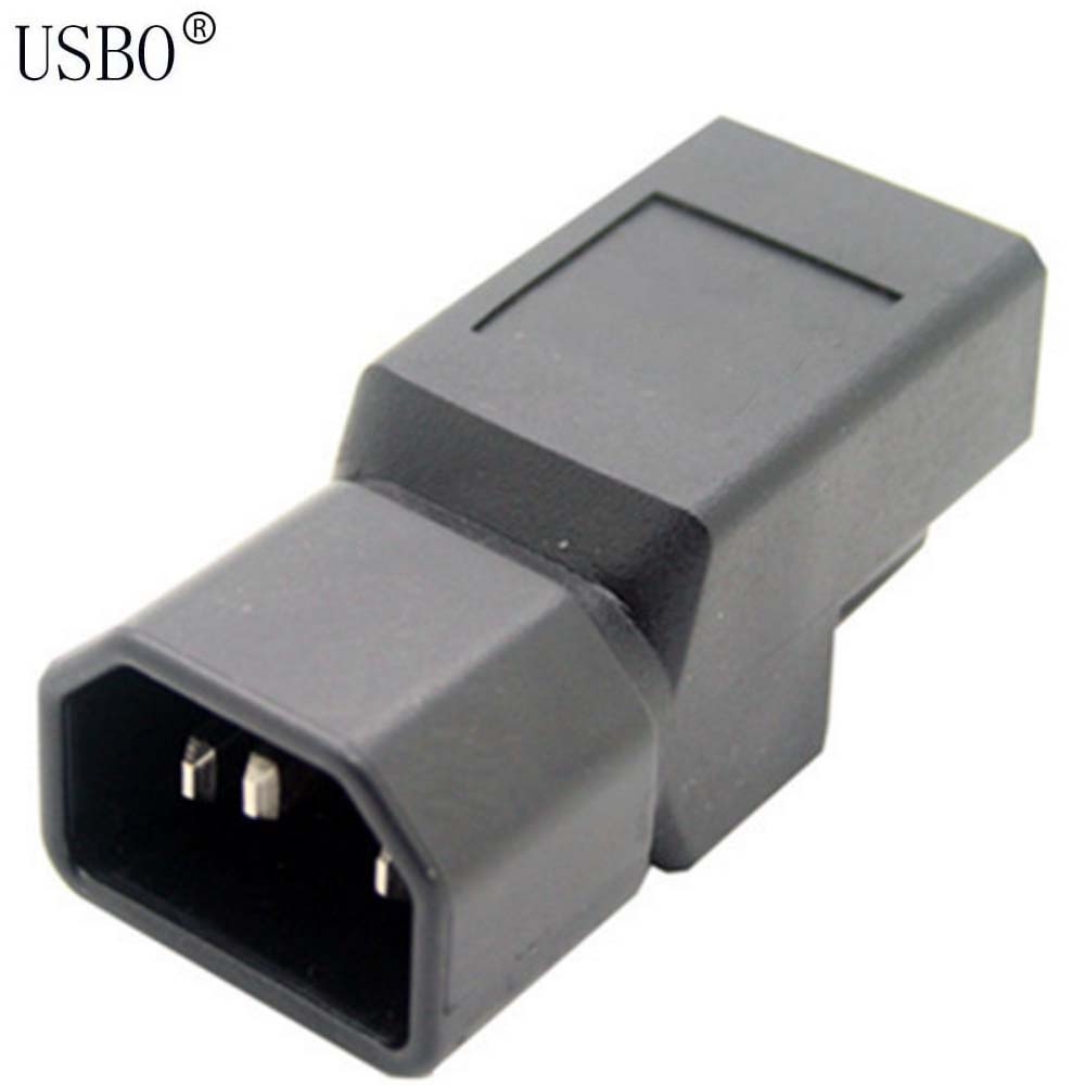 Black Copper Standart IEC320 C14 male to US standard female UPS PDU APC Server power adaptor plug convert socket