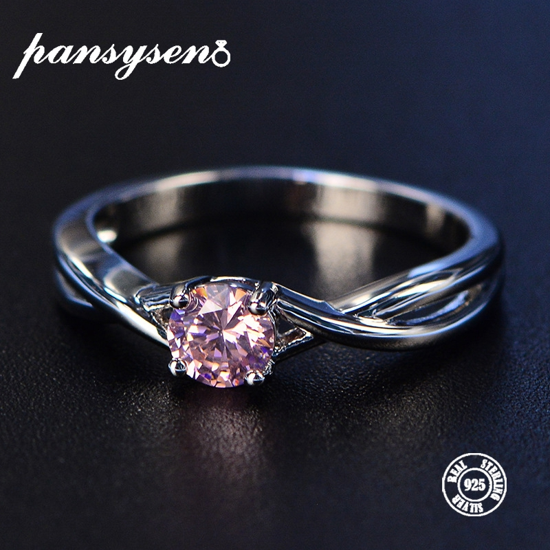 PANSYSEN 5*5mm 1ct Pink Spinel Birthstone Rings Solid 925 Sterling Silver Fine Jewelry For Women 3 Colors Gemstone Ring Hot 2019