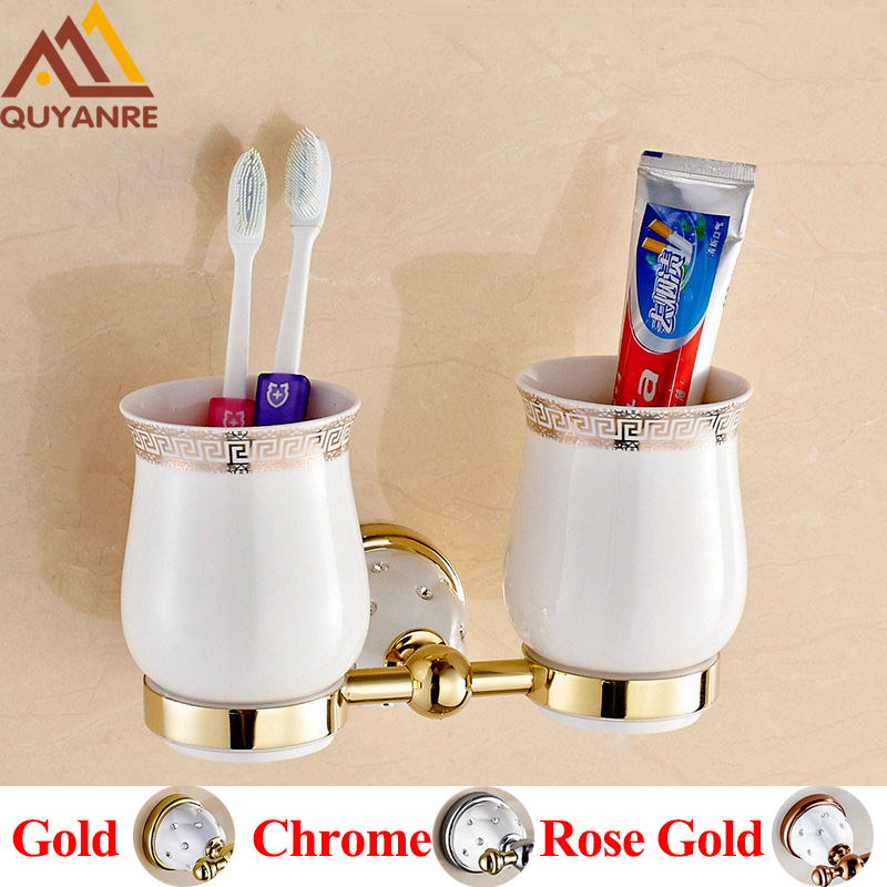 Quyanre Bathroom Hardware Crystal Brass Toothbrush Holders Gold Wall mounted With Ceramic Cup Holder Bathroom Accessories free shipping crystal and jade wall mounted toothbrush holder double ceramic cup brass holder