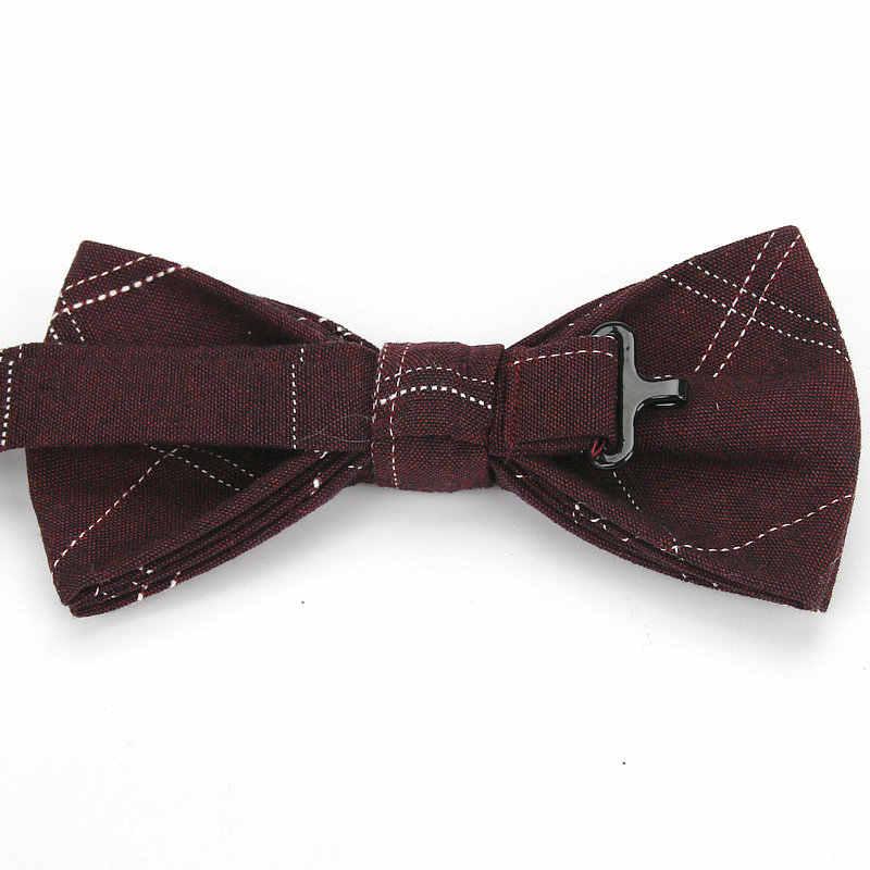Ianthe 브랜드 뉴 남자의 빈티지 체크 코 튼 보우 타이 웨딩 정장 bowtie 남자 neckwear 패션 나비 gravata 넥타이