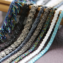 1 yards 0.7-4cm wide tassel fringe beads tapes blue /colored lace trim ribbon clothes dress lace fabric Z108