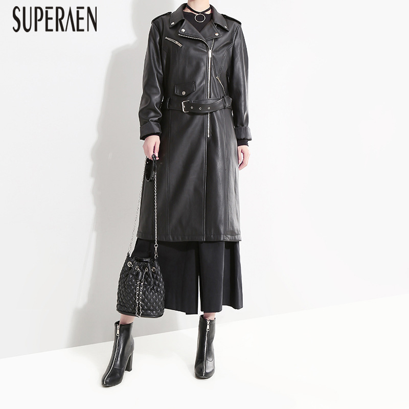 SuperAen Fashion Casual Wild Leather   Trench   Coat for Women Europe 2018 Autumn and Winter New Lapel Leather Women's Windbreaker