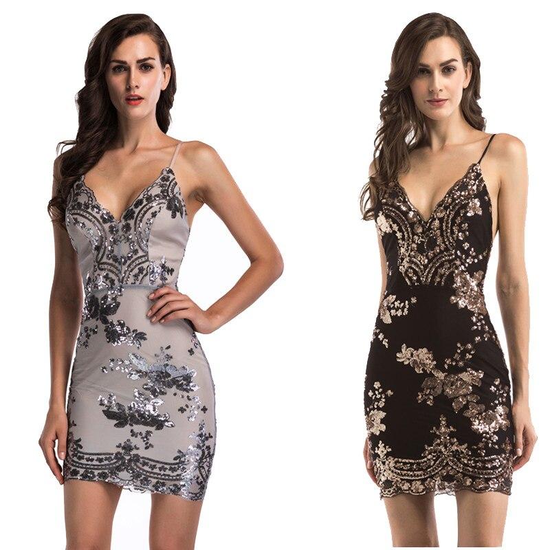 Liva Girl 2018 Black Gold Sequin Sexy Party Mini Dress Women Sexy V Neck  Bodycon Dresses Summer Pencil Dress Vestidos De Festa 9e0431acdf2a