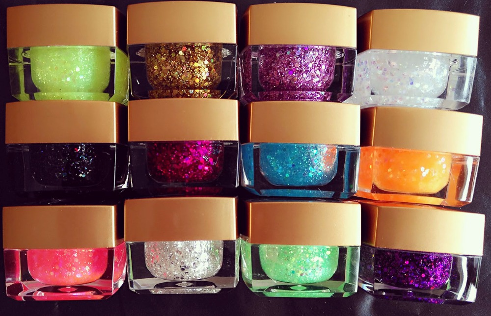 12PCS mix color Long Lasting UV Gel Sequins Glitter Shiny Gel Nail Polish Charming Acrylic Nail Gel Polish dn2 39 mix 2 3mm solvent resistant neon diamond shape glitter for nail polish acrylic polish and diy supplies1pack 50g