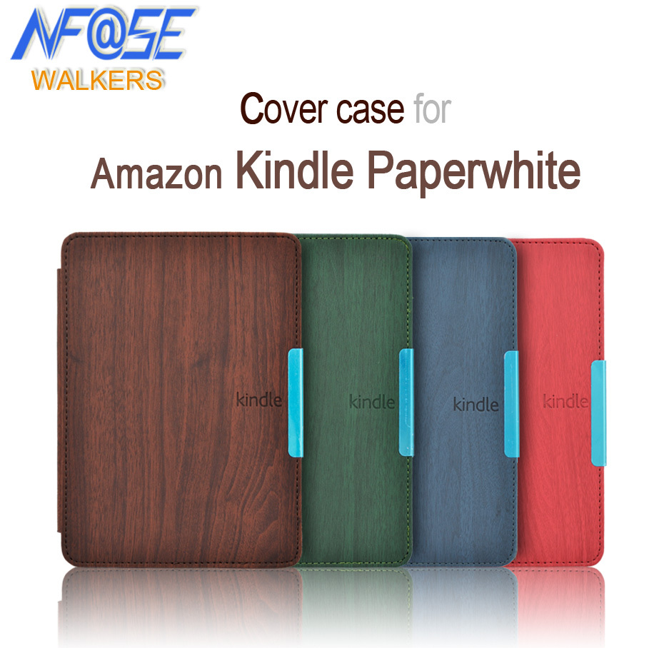 wood case For Amazon kindle paperwhite 1 and 2 and 3 6 inch quality leather cover case with magnet closure +film+stylus+track pink marble grain magnet pu flip cover for amazon kindle paperwhite 1 2 3 449 558 case 6 inch ebook tablet case leather case