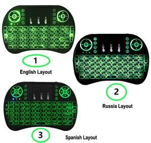 Image 3 - قابلة للشحن i8 الخلفية الروسية أون الإسبانية العربية لوحة مفاتيح صغيرة لوحة اللمس ماوس هوائي ل ريسيفر لتليفزيونات أندرويد الذكيّة الكمبيوتر التحكم عن بعد