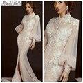С длинным рукавом мусульманин вечернее платье 2015 аппликации тюль дубай арабский арабские высоким горлом пром платья длиной до пола платье халат шезлонг