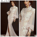 De manga comprida muçulmano vestido de noite 2015 apliques Dubai árabe árabe alta Neck vestidos vestido longo robe longue