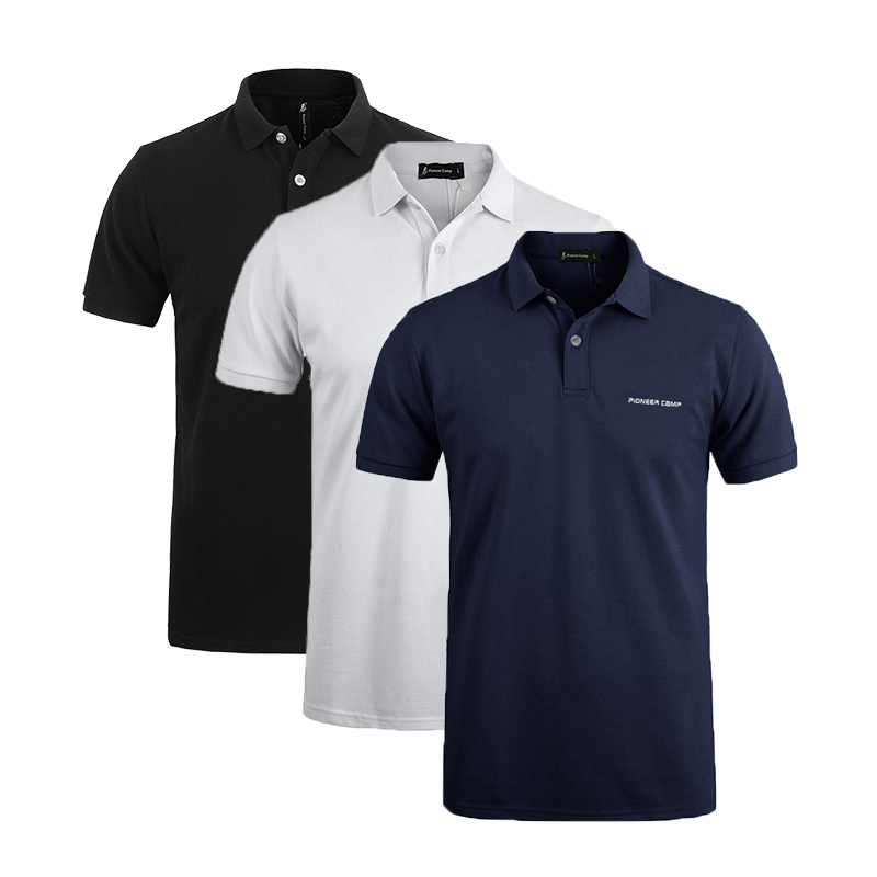 Pionner Camp 3-pack hot men   Polo   Shirt classic Business & Casual solid male   polo   shirt Short Sleeve breathable   polo   shirt