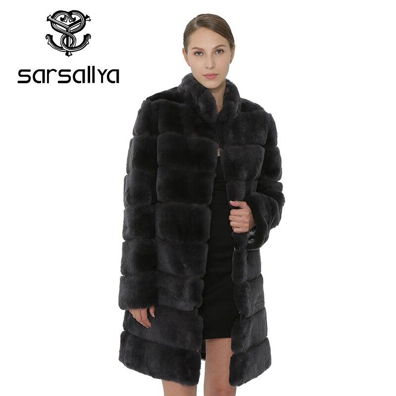 SARSALLYA Rex Rabbit Fur Women Coat Detachable Overcoat Jacket Warm Winter Women Clothing Natural Fur Female