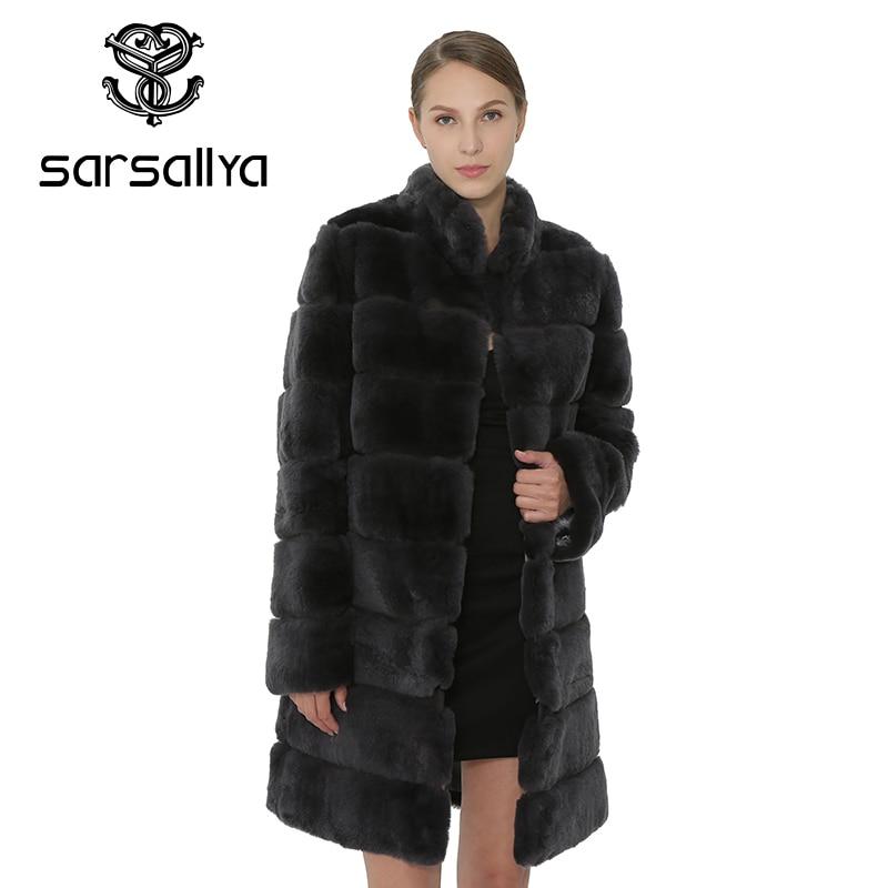 SARSALLYA Rex fourrure de lapin femmes manteau amovible pardessus veste chaud hiver femmes vêtements en fourrure naturelle femme manteau veste