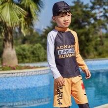 Купальник с длинным рукавом для детей, купальный костюм из двух предметов для мальчиков, детский плавательный комплект с крышкой, Шорты для плавания