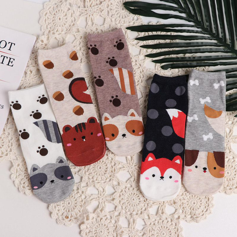 SP&CITY 5 Pairs Cartoon Kawaii Women Short Socks Cute Animal Patterned Cotton Ankle Socks Student Casual Printed Socks Female