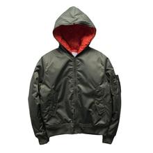 00e455efd6c69 European fashion men High street autumn winter solid hooded jackets bomber  jacket pocke thicker coat Warm