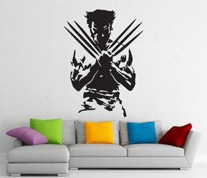 Image 1 - Wolverine, superbohater, zdejmowana naklejka, winylowa tablica naścienna, wnętrze domu artystyczna dekoracja, chłopiec modna dekoracja pokoju CJY22