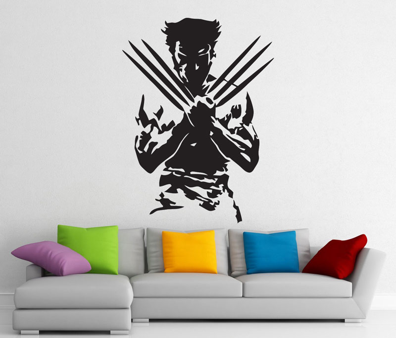 Wolverine, superhero, detachable sticker, vinyl decal, home interior art decoration, boy room fashion decoration CJY22-in Wall Stickers from Home & Garden