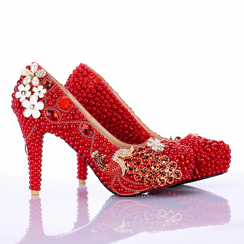 aliexpresscom buy red pearl bridal shoes 2016 new design phoneix girl wedding shoes 4 inch high heel anniversary party pumps birthday party shoes from