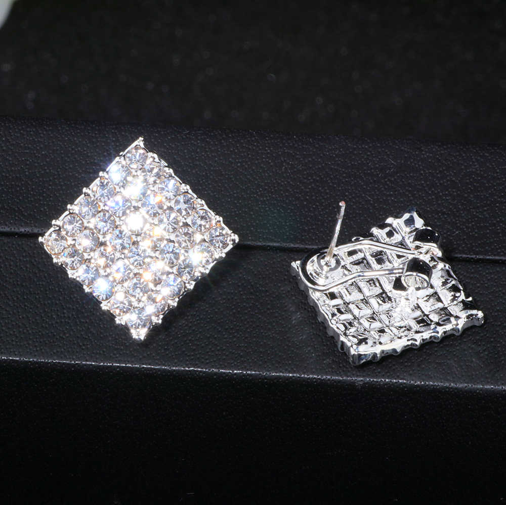 2018 New Wedding Jewelry Design Silver Color Simple Square Crystal Earrings Fashion Women Statement Stud Earrings Jewelry WX067