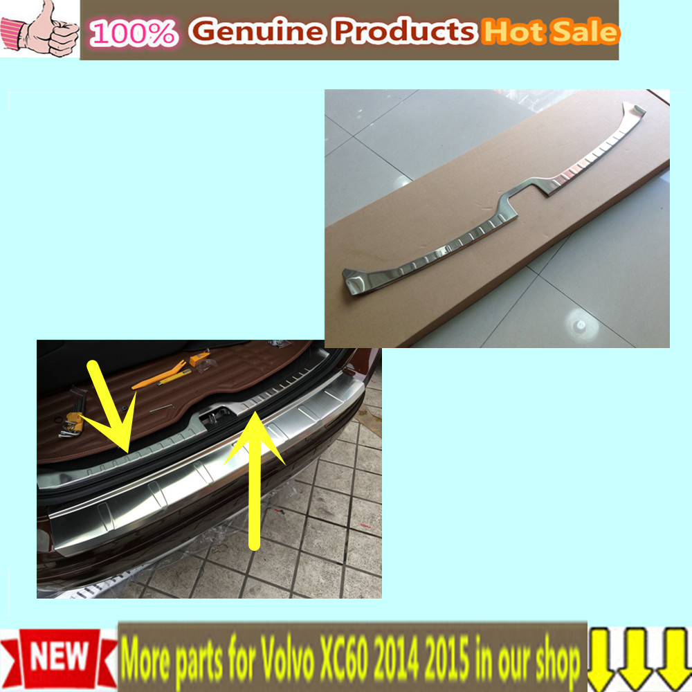 Free Shipping Car styling cover Stainless Steel Inner built Rear Bumper Protector trim plate pedal 1pcs For Volvo XC60 2014 2015 for porsche cayenne 2015 stainless steel outer rear bumper foot plate trim 1pcs car styling