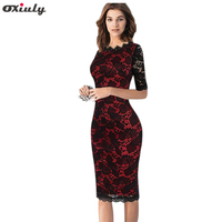 Womens Elegant Vintage Pin Up Retro Floral Translucent Lace Half Sleeve Patchwork Party Club Bodycon Sheath