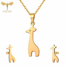 Cute Girls Jewelry Kids Giraffe Jewelry Set Children's Costume Jewelery Stainless Steel Jewelry Christmas Gift Sieraden Set(China)