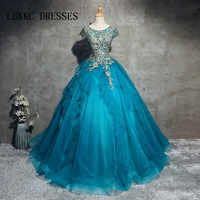 Blue Quinceanera ชุดหวาน 16 ชุดสำหรับ 15 ปีชุดลูกไม้ลูกไม้ลูกไม้ลูกปัด Quinceanera ชุด Vestidos De 15 Anos