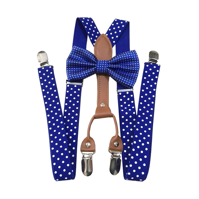 Men Women Polka Dot Tie Suspenders 4 Clips Leather Suspensorio Braces XRQ88