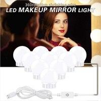 DC 5V USB лампа для макияжа зеркальный светодиодный светильник 6 10 14 лампочек комплект сенсорная диммер Плавная регулировкая яркости освещение...