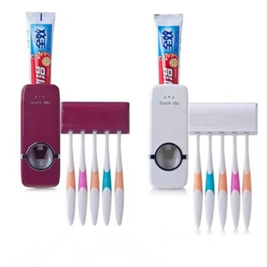 Automatic toothpaste dispenser toothbrush holder sets for Cream bathroom accessories set
