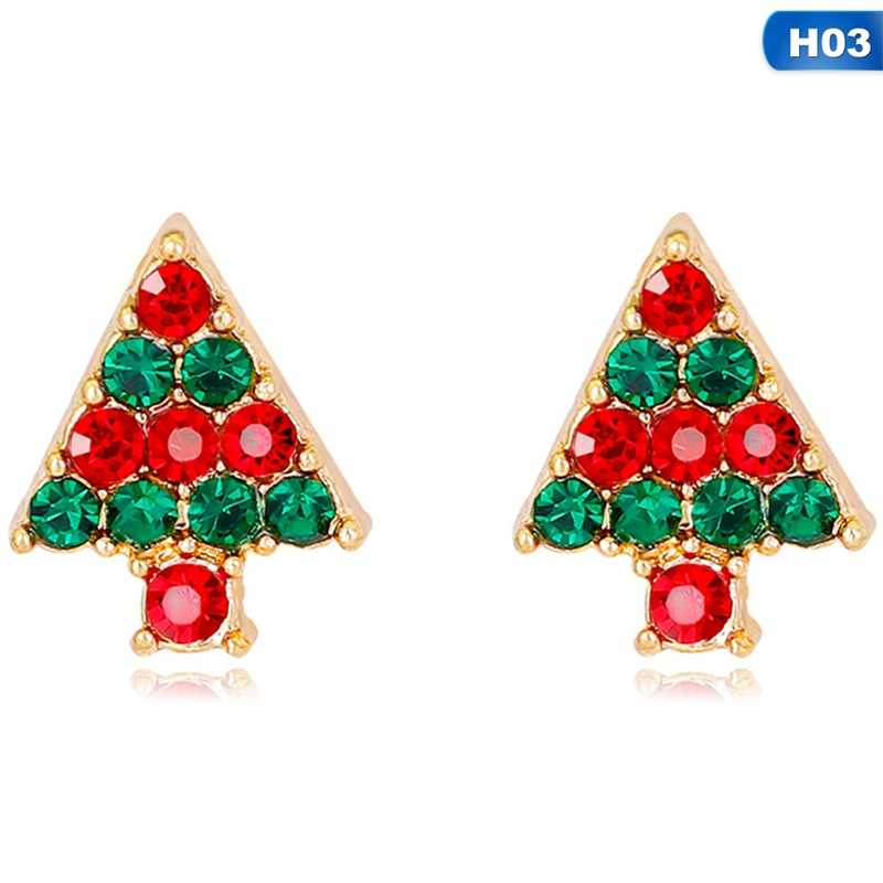New Christmas Color Tree Snowflake Stud Earring For Girl Kid Bell Santa Claus Ear Cuff Earring Festive Gift Jewelry