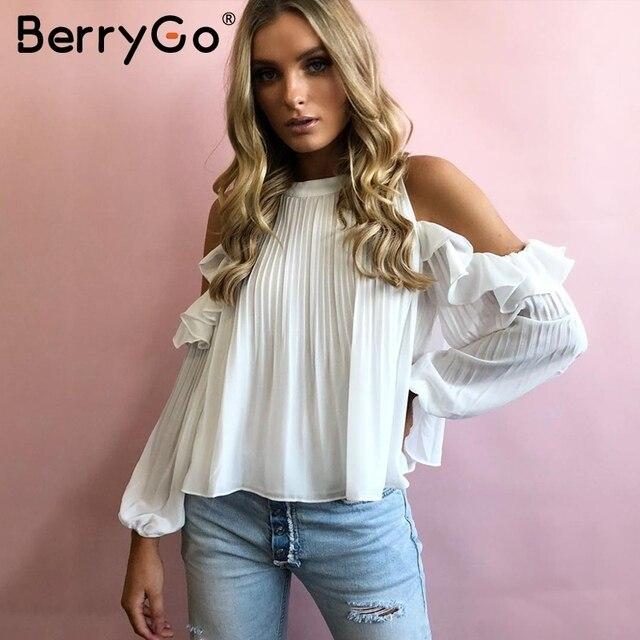 59a95e8fd3356 BerryGo Cold shoulder ruffle white blouse shirt Women button long sleeve  ladies top Autumn casual chiffon fashion woman blouses