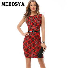 Vintage Red Tartan Dress Sleeveless Pencil Office Dress with Belt Fashion O Neckline Retro Ruffles Business